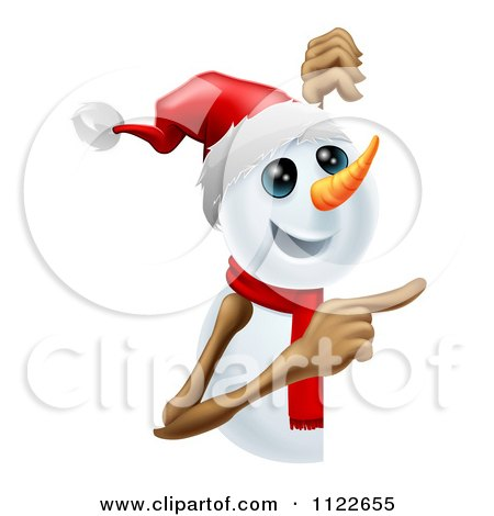 Clipart Of A Happy Cute Snowman Pointing To A Sign - Royalty Free Vector Illustration by AtStockIllustration