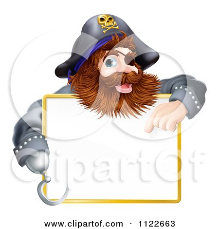 Clipart Of A Happy Pirate Pointing At A Sign - Royalty Free Vector Illustration by AtStockIllustration