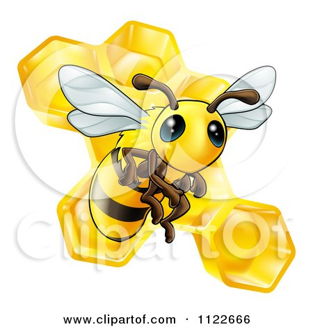 Clipart Of A Cute Bee And Honeycomb - Royalty Free Vector Illustration by AtStockIllustration