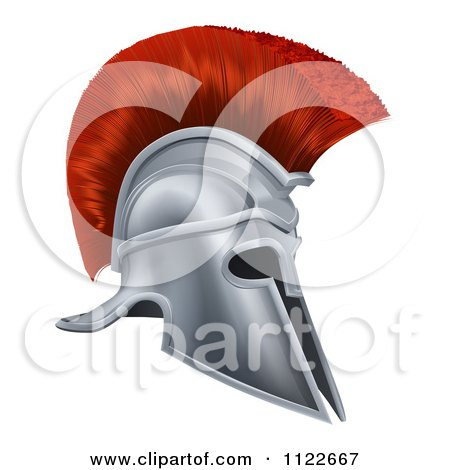Clipart Of A 3d Silver Trojan Spartan Helmet With A Red Mohawk - Royalty Free Vector Illustration by AtStockIllustration
