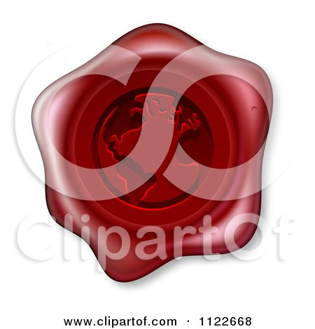 Clipart Of A 3d Red Wax Seal With An Embossed Globe - Royalty Free Vector Illustration by AtStockIllustration