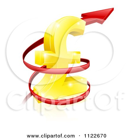 Clipart Of A 3d Red Spiraling Up Arrow Around A Golden Lira Pound Currency Symbol - Royalty Free Vector Illustration by AtStockIllustration
