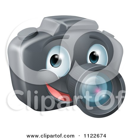 Clipart Of A Smiling Happy DSLR Camera Mascot - Royalty Free Vector Illustration by AtStockIllustration