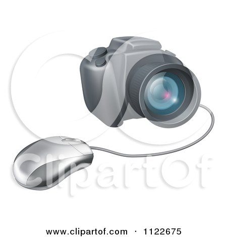 Clipart Of A Computer Mouse Connected To A DSLR Camera - Royalty Free Vector Illustration by AtStockIllustration