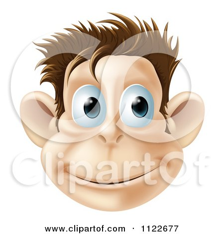 Clipart Of A Smiling Monkey Face - Royalty Free Vector Illustration by AtStockIllustration
