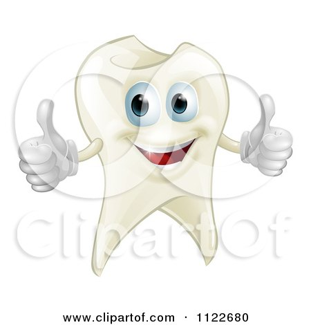 Clipart Of A Happy Tooth Mascot Holding Two Thumbs Up - Royalty Free Vector Illustration by AtStockIllustration