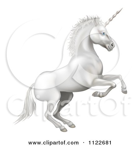 Clipart Of A White Rearing Unicorn - Royalty Free Vector Illustration by AtStockIllustration