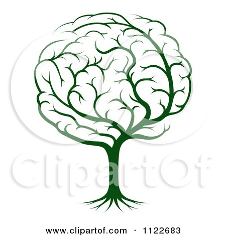 Clipart Of A Green Brain Tree - Royalty Free Vector Illustration by AtStockIllustration