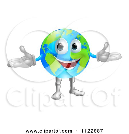 Clipart Of A 3d Happy World Globe Mascot - Royalty Free Vector Illustration by AtStockIllustration