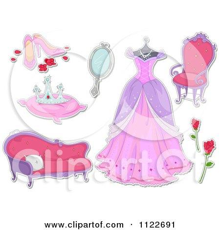 Cartoon Of Fairy Tale Princess Items - Royalty Free Vector Clipart by BNP Design Studio