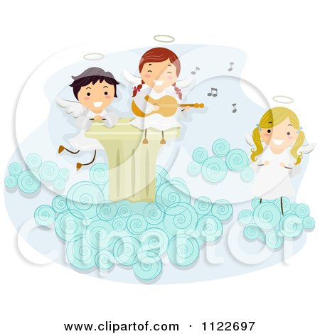 Cartoon Of Angel Kids Singing And Playing A Guitar On A Cloud - Royalty Free Vector Clipart by BNP Design Studio