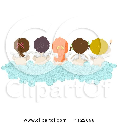 Cartoon Of A Rear View Of Angel Kids Sitting On A Cloud Royalty Free Vector Clipart