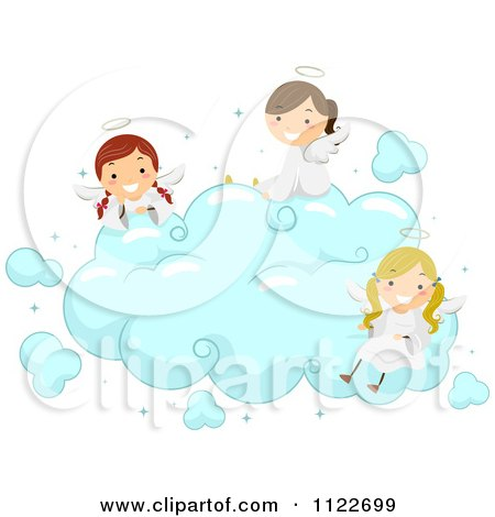 Cartoon Of Angel Kids Sitting On A Cloud - Royalty Free Vector Clipart by BNP Design Studio