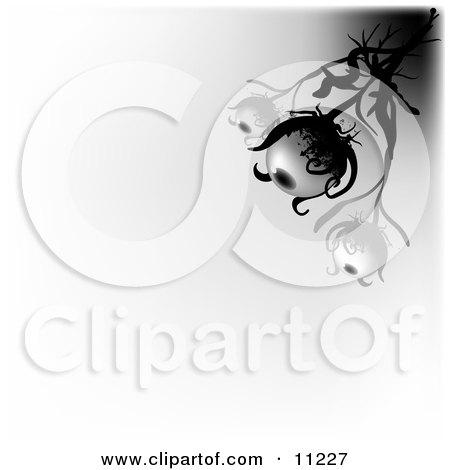 Three Eyeball Creatures Resembling Plants Watching Clipart Illustration