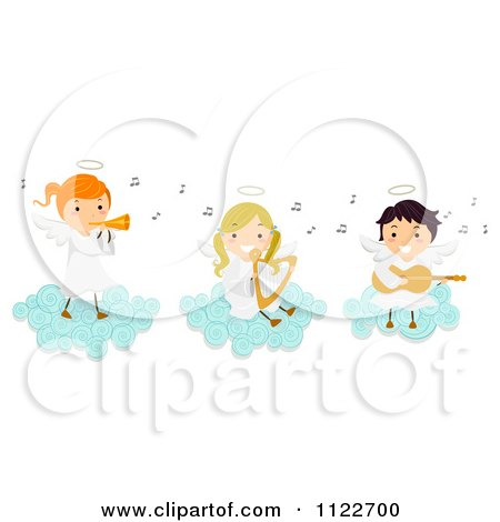 Cartoon Of Angel Kids Playing Instruments On A Cloud - Royalty Free Vector Clipart by BNP Design Studio