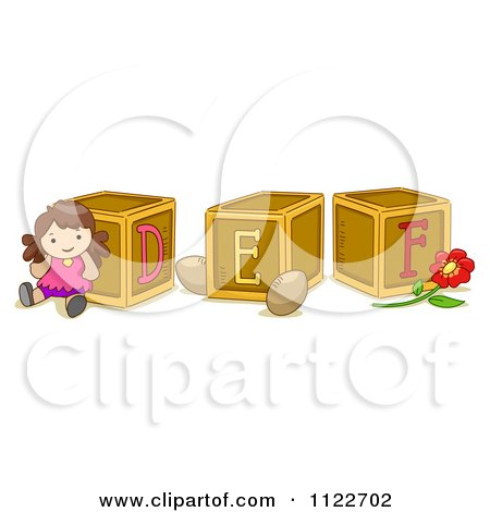 Cartoon Of Alphabet Letter Abc Blocks D E And F - Royalty Free Vector Clipart by BNP Design Studio