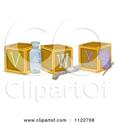 Cartoon Of Alphabet Letter Abc Blocks V W And X - Royalty Free Vector Clipart by BNP Design Studio