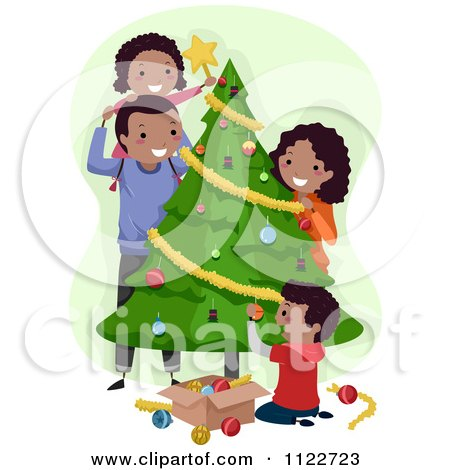 Cartoon Of A Happy Black Family Decorating A Christmas Tree - Royalty Free Vector Clipart by BNP Design Studio