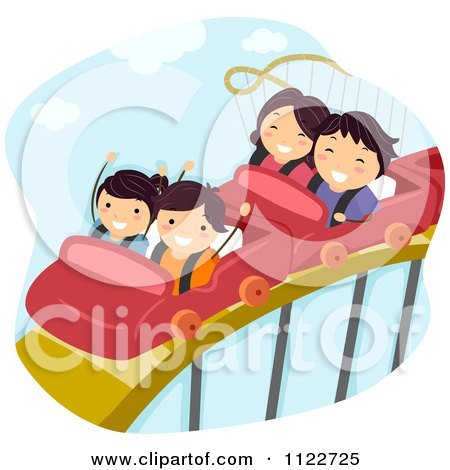Cartoon Of A Happy Family On A Roller Coaster Ride - Royalty Free Vector Clipart by BNP Design Studio