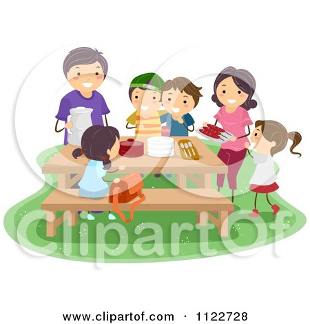 Cartoon Of A Happy Family Surrounding A Picnic Table - Royalty Free Vector Clipart by BNP Design Studio