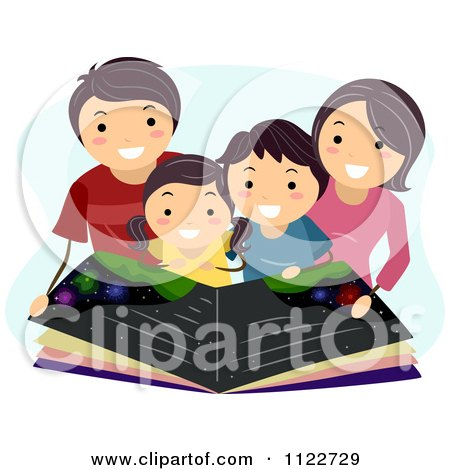 Cartoon Of A Happy Family Reading An Astronomy Book - Royalty Free Vector Clipart by BNP Design Studio