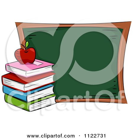 Cartoon Of A Book Pile And Apple By A Chalk Board - Royalty Free Vector Clipart by BNP Design Studio