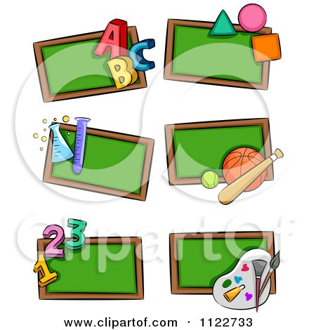 Cartoon Of School Subject Chalk Boards - Royalty Free Vector Clipart by BNP Design Studio