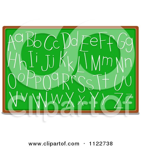 Cartoon Of Alphabet Letters Written On A Chalk Board - Royalty Free Vector Clipart by BNP Design Studio