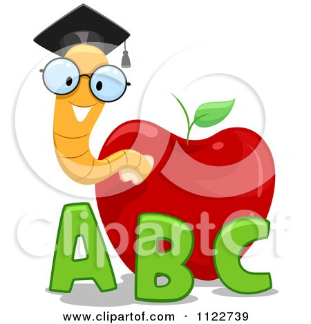 Cartoon Of A Happy Nerdy Worm In An Apple With Letters - Royalty Free Vector Clipart by BNP Design Studio