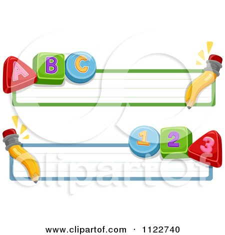 Cartoon Of School Banners With Pencils Letters And Numbers - Royalty Free Vector Clipart by BNP Design Studio