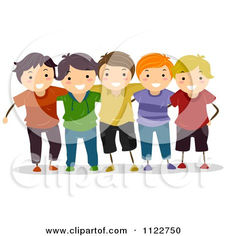 cartoon of a group of happy boys   royalty free vector