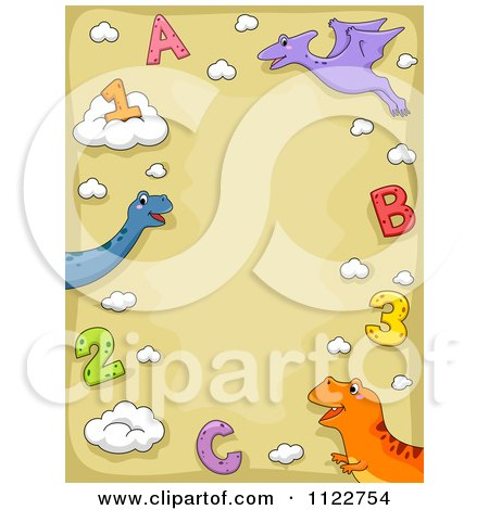Cartoon Of A School Border Of Dinosaurs Letters And Numbers On Tan - Royalty Free Vector Clipart by BNP Design Studio
