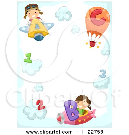 Cartoon Of A Border Of A Boy And Girl Flying Letter Planes With Numbers On Clouds - Royalty Free Vector Clipart by BNP Design Studio