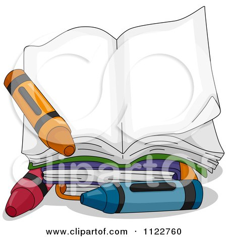 Cartoon Of An Open Book With Crayons - Royalty Free Vector Clipart by BNP Design Studio