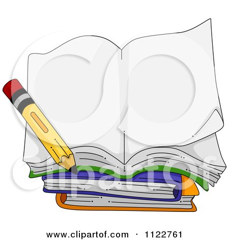 Cartoon Of An Open Book With A Pencil - Royalty Free Vector Clipart by BNP Design Studio