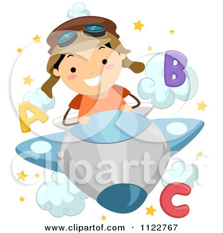 Cartoon Of A Happy School Boy Piloting A Plane Through Letter Clouds - Royalty Free Vector Clipart by BNP Design Studio