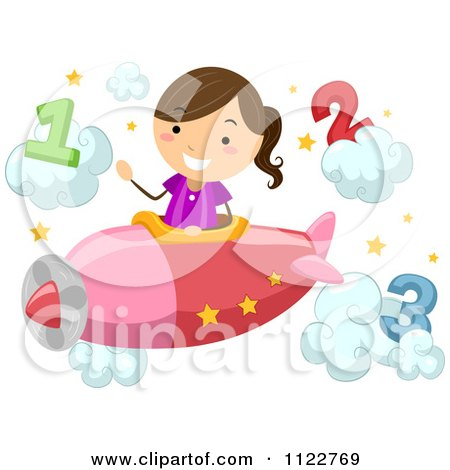 Cartoon Of A Happy School Girl Piloting A Plane Through Number Clouds - Royalty Free Vector Clipart by BNP Design Studio