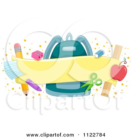 Cartoon Of A School Banner With A Backpack And Supplies - Royalty Free Vector Clipart by BNP Design Studio