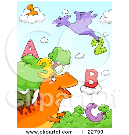 Cartoon Of Dinosaurs With Letters And Numbers 1 - Royalty Free Vector Clipart by BNP Design Studio