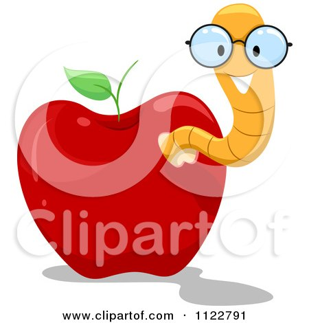 Cartoon Of A Happy Nerdy Worm In An Apple - Royalty Free Vector Clipart by BNP Design Studio