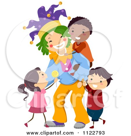 Cartoon Of A Friendly Clown Playing With Diverse Children - Royalty Free Vector Clipart by BNP Design Studio