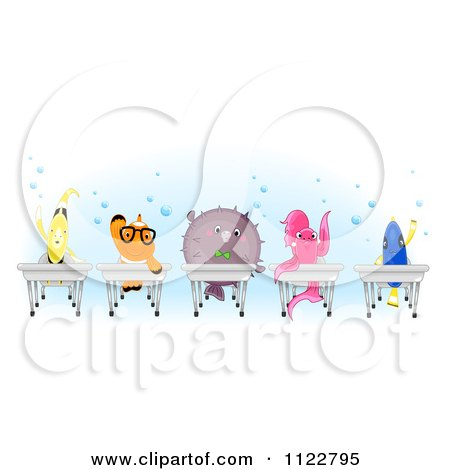 Cartoon Of Happy Clownfish Pufferfish Betta Blue Tang And A Yellow Butterfly Fish At School Desks - Royalty Free Vector Clipart by BNP Design Studio