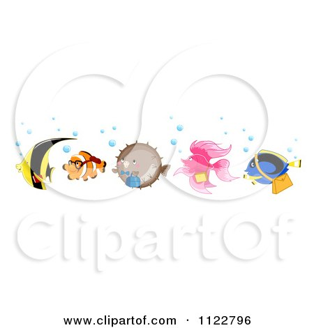 Cartoon Of A Line Of Happy Clownfish Pufferfish Betta Blue Tang And A Yellow Butterfly Fish - Royalty Free Vector Clipart by BNP Design Studio