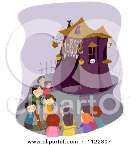 Cartoon Of Happy Children At A Horror House - Royalty Free Vector Clipart by BNP Design Studio