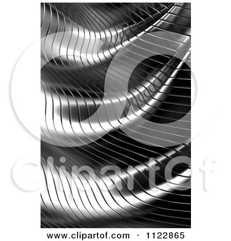 Clipart Of A 3d Wavy Metal Background - Royalty Free CGI Illustration by stockillustrations