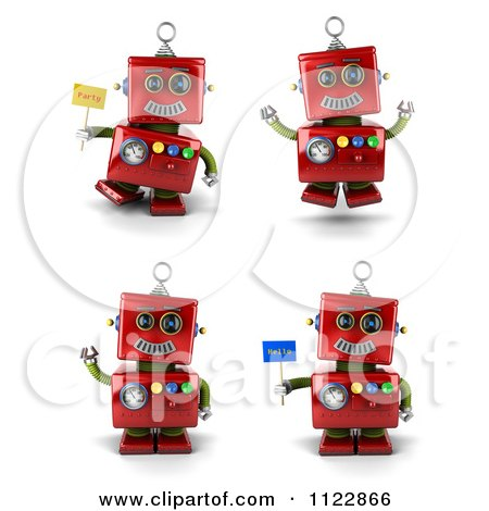 Clipart Of A 3d Red Robot Waving Jumping And Holding Flags - Royalty Free CGI Illustration by stockillustrations