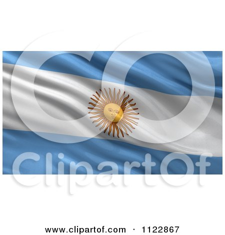Clipart Of A 3d Waving Flag Of Argentina Rippling And Waving - Royalty Free CGI Illustration by stockillustrations