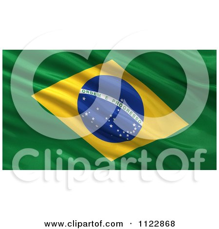 Clipart Of A 3d Waving Flag Of Brazil Rippling And Waving - Royalty Free CGI Illustration by stockillustrations