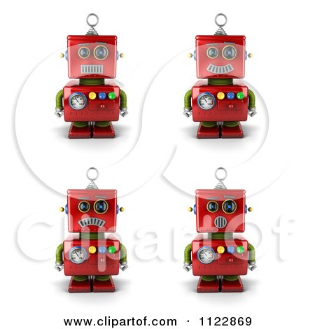 Clipart Of A 3d Red Robot With Different Emotional Expressions - Royalty Free CGI Illustration by stockillustrations