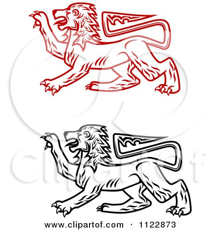 Clipart Of Heraldic Lions 2 - Royalty Free Vector Illustration by Vector Tradition SM